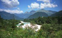 smaragd colored Soca River in Kobarid - the smaragd valley