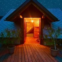 hayloft entrance from the terrasse by night